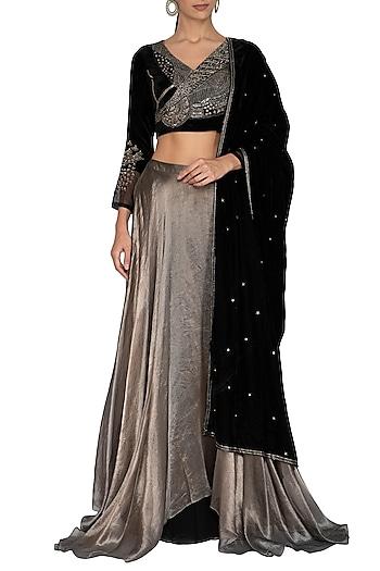 Black & Metallic Grey Embroidered Lehenga Set by Breathe By Aakanksha Singh