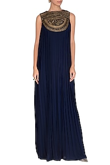 Navy Blue Floral Embellished Gown by Breathe By Aakanksha Singh