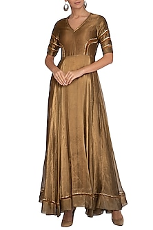 Golden Embellished Gown by Breathe By Aakanksha Singh