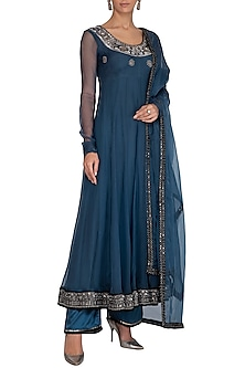 Blue Embroidered Anarkali Set by Breathe By Aakanksha Singh