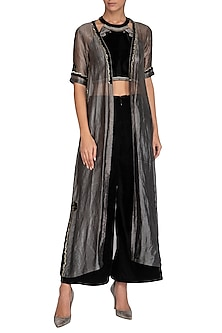 Black Embellished Crop Top With Pants & Metallic Jacket by Breathe By Aakanksha Singh