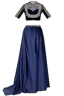 Navy Blue Embroidered Blouse With Draped Skirt & Belt by Breathe By Aakanksha Singh