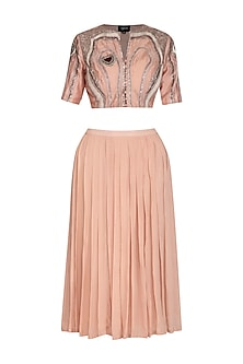 Icy Peach Embroidered Crop Top With Pleated Skirt by Breathe By Aakanksha Singh