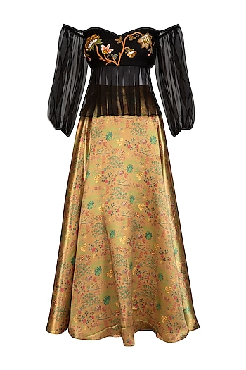 Black Embroidered Velvet Crop Top With Skirt by Breathe By Aakanksha Singh