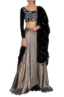 Black & Metallic Grey Hand Embroidered Lehenga Set by Breathe By Aakanksha Singh