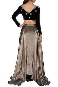 Black & Metallic Grey Hand Embroidered Lehenga Set by Breathe By Aakanksha Singh