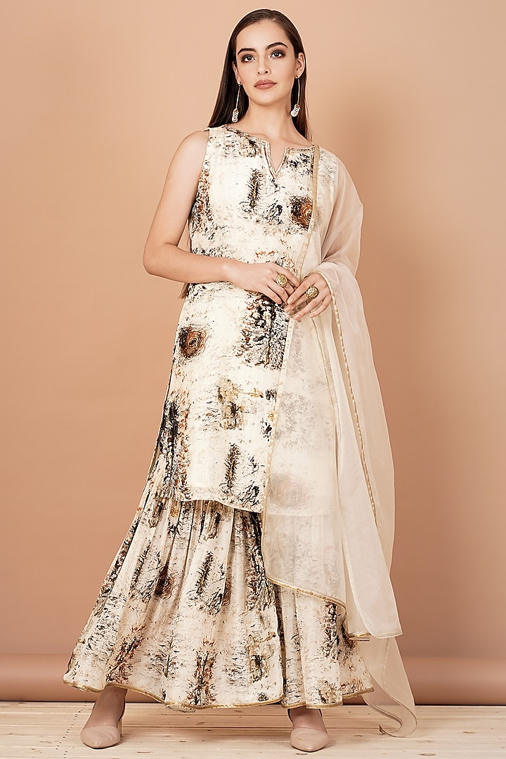 Off White Hand Painted Sharara Set by Breathe By Aakanksha Singh