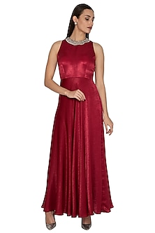 Red Embroidered Flowy Gown by Breathe By Aakanksha Singh
