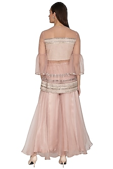 Blush Pink Embroidered Kurta With Pants by Breathe By Aakanksha Singh