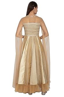 Beige Kalidar Gown With Flowy Net Sleeves by Breathe By Aakanksha Singh