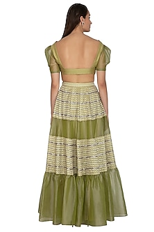 Olive Green Embroidered Blouse With Lehenga Skirt by Breathe By Aakanksha Singh