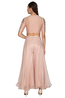Blush Pink Embroidered Crop Top With Pants by Breathe By Aakanksha Singh