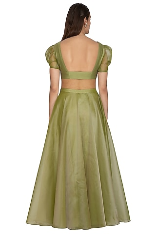 Olive Green Embroidered Lehenga Set by Breathe By Aakanksha Singh