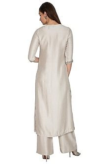 Silver Embroidered Kurta With Pants by Breathe By Aakanksha Singh