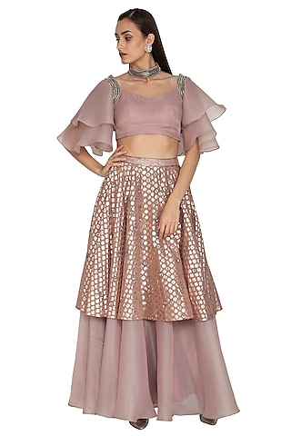 Blush Pink Embroidered Crop Top With Skirt by Breathe By Aakanksha Singh
