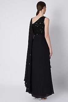 Black Draped One-Shoulder Saree Gown by Babita Malkani