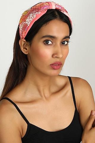 Peach Embroidered Foliage Headband by Diya Aswani x Babita Malkani