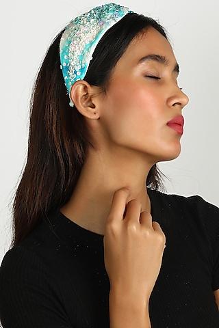 Sky Blue Ombre Sequins Headband by Diya Aswani x Babita Malkani