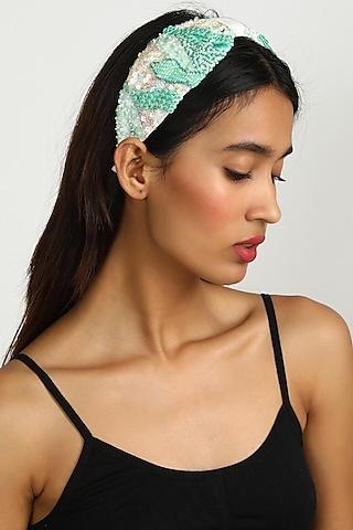 Sky Blue Patterned Headband by Diya Aswani x Babita Malkani