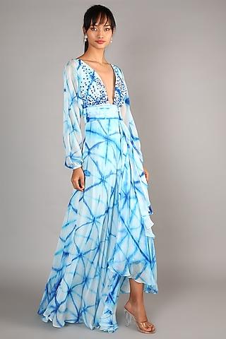 Sky Blue Embroidered Maxi Dress by Babita Malkani
