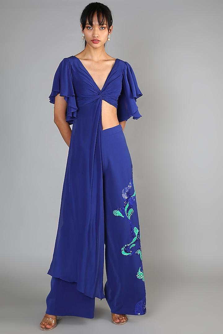 Blue Embroidered Pant Set by Babita Malkani