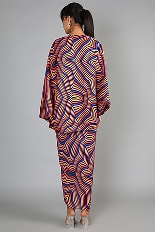 Sky Blue Draped Skirt Set by Babita Malkani