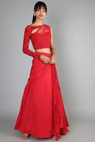 Red Embroidered Lehenga Set by Babita Malkani