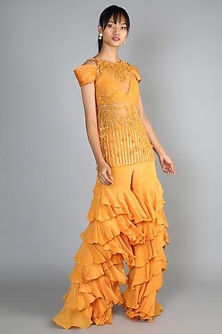 Yellow Layered Pant Set by Babita Malkani