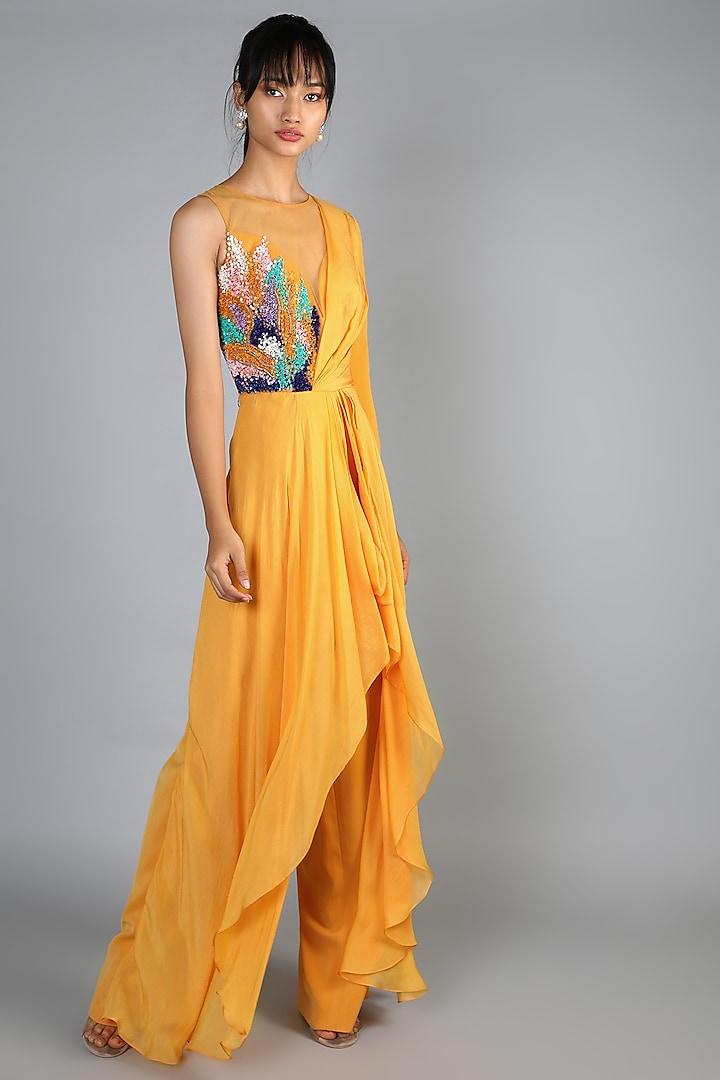 Yellow Draped Jumpsuit by Babita Malkani