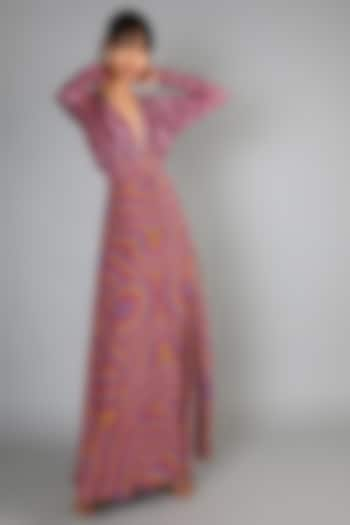 Mauve Embroidered Maxi Dress by Babita Malkani