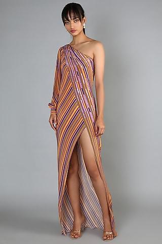 Yellow Slit Maxi Dress by Babita Malkani