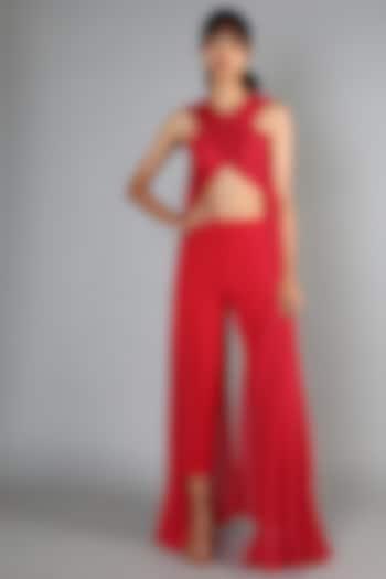Red Slit Pant Set by Babita Malkani