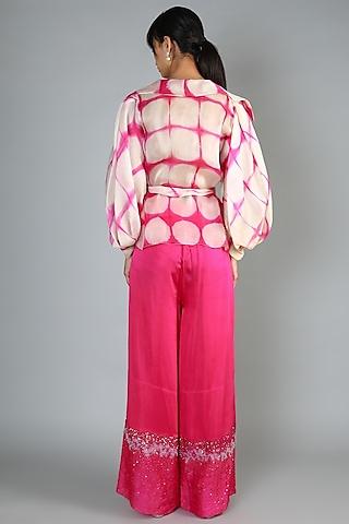 Fuchsia High Waist Pant Set by Babita Malkani