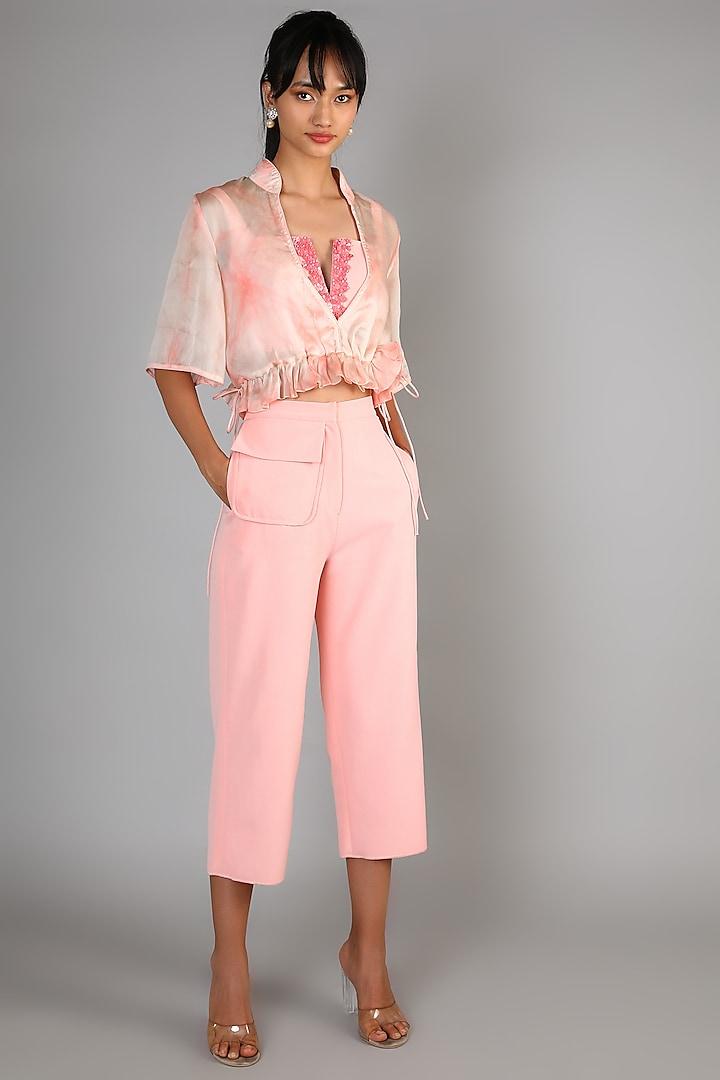 Peach Embroidered Pant Set by Babita Malkani