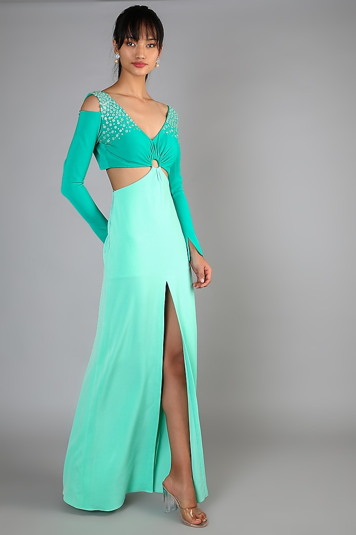 Mint Green Slit Gown Dress by Babita Malkani