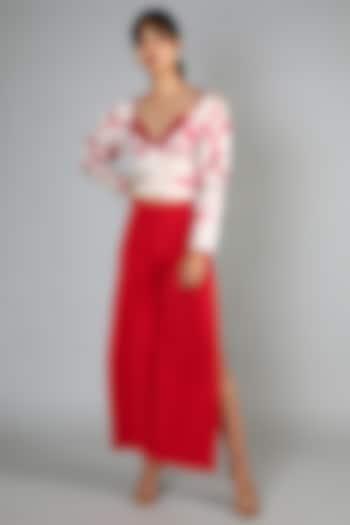 Red Embroidered Pant Set by Babita Malkani
