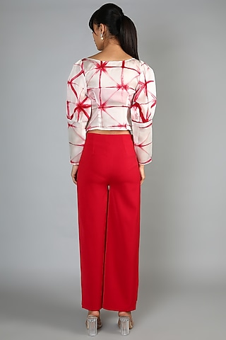 Red Embroidered Pant Set by Babita Malkani