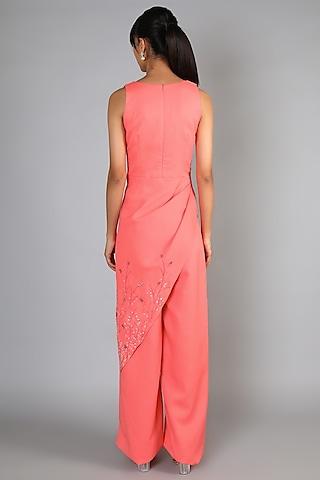 Peach Embroidered Draped Jumpsuit by Babita Malkani
