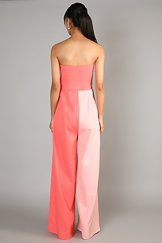 Peach Embroidered Tube Jumpsuit by Babita Malkani