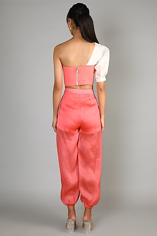 Peach One Shoulder Bustier With Pants by Babita Malkani