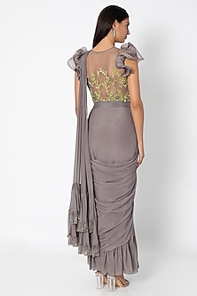 Taupe Grey Pre-Stitched Saree With Embroidered Blouse by Babita Malkani