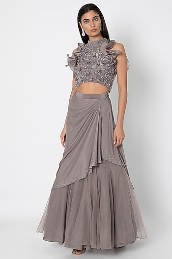 Taupe Grey Embroidered Blouse With Lehenga Skirt by Babita Malkani