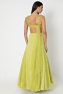 Chartreuse Green Lehenga Skirt With Embroidered Blouse by Babita Malkani