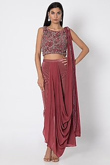 Cardinal Red Draped Saree With Embroidered Crop Top by Babita Malkani