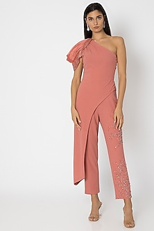 Rose Pink Embellished Pants With One Shoulder Top by Babita Malkani