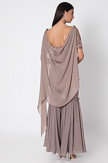 Taupe Grey Gharara Pants With Embellished Top & Cape by Babita Malkani