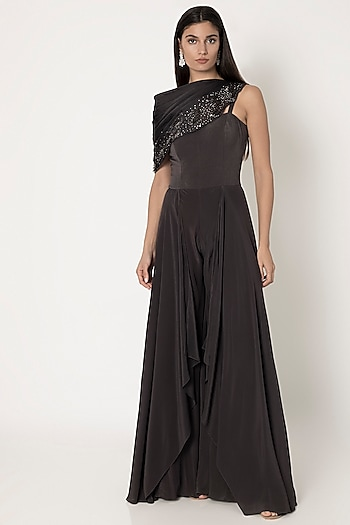 Sable Black Jumpsuit With Pleated Cape by Babita Malkani