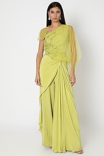 Chartreuse Green Jumpsuit With Cape by Babita Malkani
