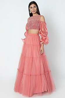 Rose Pink Flared Lehenga With Blouse by Babita Malkani