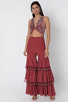 Cardinal Red Crop Top With Layered Flared Pants by Babita Malkani